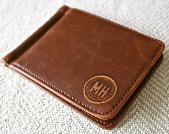 Personalized Leather Money Clip - Custom Engraved