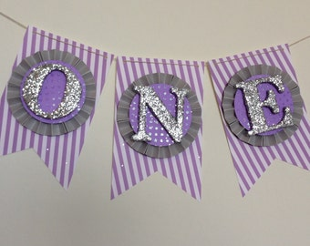 Purple & Silver High Chair Cake Smash Banner. ONE Banner. Age Banner. First Birthday Decorations. Birthday Banner. ONE Photo Prop