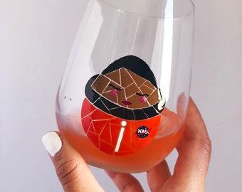 Mae C. Jemison Mosaic Hand Painted Wine Glass