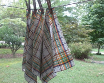 Four Vintage Woven Cotton Napkins - Small Plaid Luncheon Napkins - Green Gold Maroon - Summer Table Linens