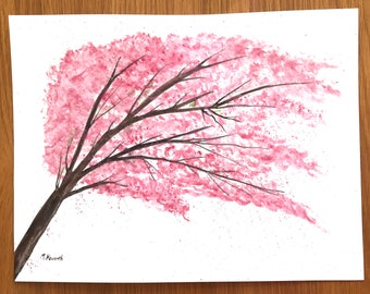 ORIGINAL watercolour painting cherry blossom art japanese art pink flower gift for her 100% original artwork 12 x 9 inch