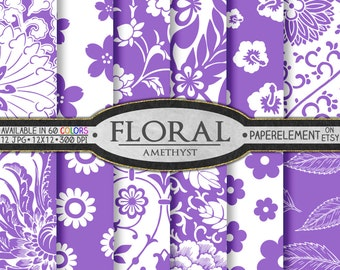 Amethyst Purple Floral Digital Paper Background - 12x12 Flower Download Scrapbook Layout - February Birthstone Colors with Purple Flowers