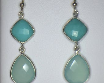 Sterling Silver Chalcedony and Turquoise Dangle Earrings, Turquoise Earrings