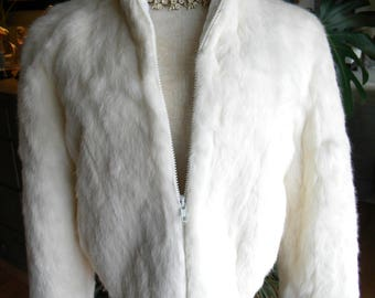 Pretty girls rabbit fur coat / jacket / outerwear/ size 14 / white fur / real fur /