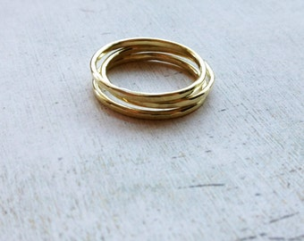 Stackable brass rings, gold brass ring, stackable hammered brass rings, stackable gold rings, midi finger rings, knuckle rings