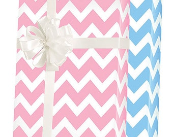 Blue White Pink White Double-Sided Chevron Gift Wrap Wrapping Paper 15ft Roll