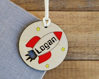 Rocket bag tag | Kindy bag tag - School bag tag - Bag tag