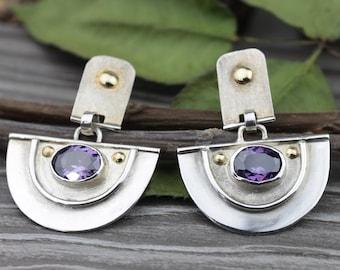 Silver gold Amethyst Earrings, Amethyst Dangle,Purple Bezel,February Birthstone