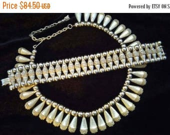 ON SALE Vintage Necklace Bracelet Set - 1950's 1960's Collectible Demi Parure - Stunning Rare Estate Find