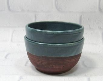 Pottery Bowls - Soup Bowls - Rice Bowls - Set of 2 Bowls - Ceramic Noodle Bowls - Ramen Bowls - Rustic Bowls - Appetizer Dip Bowls