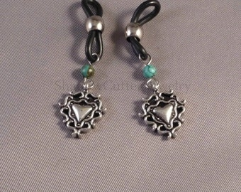 Eyeglass charms turquoise and heart charm silver tone, black eyeglass holders, chainless eyeglass accessories, earrings substitute