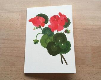 Geranium Flower Card, Floral Card, Birthday Card, Thank You Card, Get Well Soon Card, Anniversary Card, Floral Art, Floral Print, Geranium