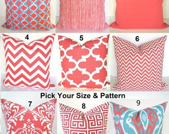 CORAL PILLOWS Coral Decorative Throw Pillow Covers Coral Pillow Covers Coral Chevron Throw Pillow 16x16 18 20 .All Sizes. Home and Living