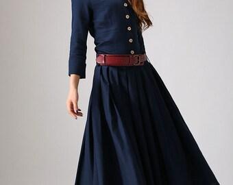 navy linen dress, maxi dress, shirt dress, pleated dress, spring dress, womens pockets dresses , beach dress, fitted dress, handmade (881)