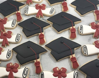 Graduation Cap and Diploma Cookies