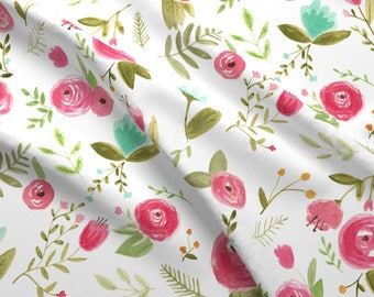 Watercolor Floral Fabric - Happy Floral By Pacemadedesigns - Bohemian Nursery Floral Cotton Fabric By The Yard With Spoonflower