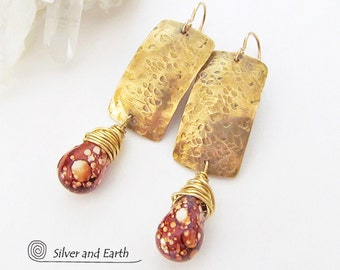 Hammered Brass Earrings, Jasper Earrings, Stone Dangle, Brown Stone Earrings, Gold Bar Earrings, Gold Dangle, Handmade Earthy Modern Jewelry