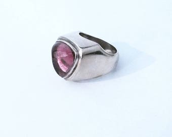 Big silver ring and stone Tourmaline