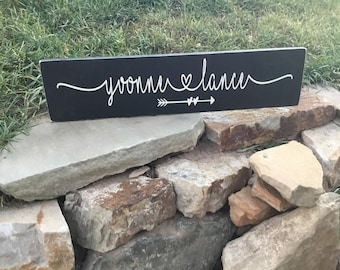 Name Sign - Wedding Gift - Anniversary Gift - Rustic Wedding Sign - Personalized Sign - Housewarming Sign - Gift for Couple