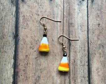 Candy corn dangle earrings