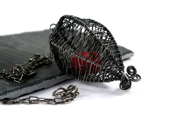 Red Coral and Oxidized Sterling Silver Woven Statement Necklace- Caged Heart