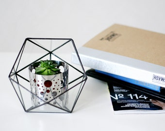 Open Icosahedron  / Geometric Glass Terrarium / Stained Glass Terrarium / Handmade Glass Terrarium