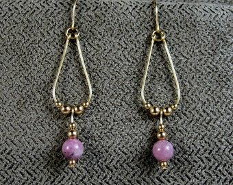 Gold-filled Lepidolite Teardrop Earrings