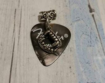 Guitar pick pendant, guitar pick necklace, black guitar pick pendant, black guitar pick necklace, guitar picks with charms, plectrum