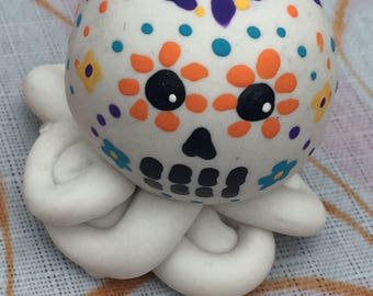 Mini Marble Octopus Day of the Dead in solid white and turquoise purple yellow orange design