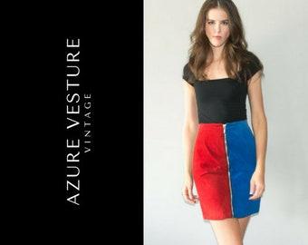 90s Zipper Front Suede Pencil Skirt. Retro 1990s Colour block High Waisted High Rise Skirt.