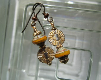 Gold and Amber Glass & Metal Earrings; Bohemian Mayan Coin Earrings, Niobium Ear Wires and Saturn Glass Beads; Someone's Favorite Earrings