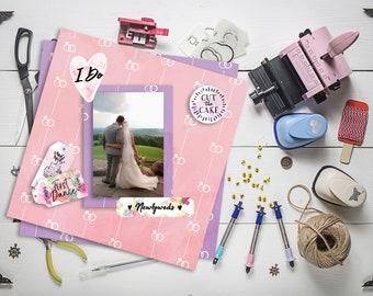 Rustic Wedding Ring Paper Printable 12x12 Digital Scrapbook Supplies