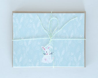 White Bunny Flat Note Cards, Grey Rabbit Flat Card, Illustrated Flat Cards, Stationery Notecards, Blank Cards & Envelopes
