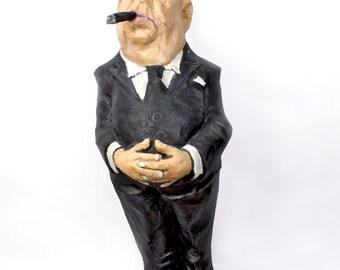 Alfred Hitchcock paper mache figure