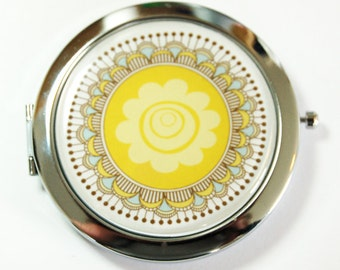 Flower compact mirror, mirror, purse mirror, compact, Pocket mirror, floral mirror, Flower Mirror, yellow  (2483)