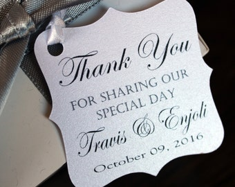 Wedding  Favor Thank You Tags -Personalized Wedding Favor Tags- thank you for sharing our special day-Elegant Favor Tags-Set of 50