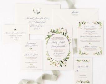 Greenery Wedding Invitation with Calligraphy Script - SAMPLE SET