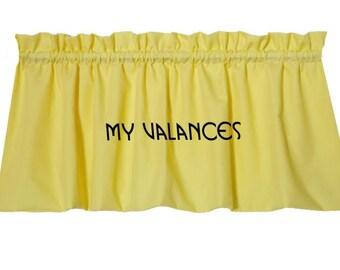 Lemon Yellow window curtain valance.  Kids nursery girls room kitchen bathroom bedroom topper LINING option