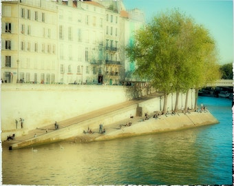Paris Photograph - Society River Seine - French cityscape - Fine art travel photography - ivory, blue, green