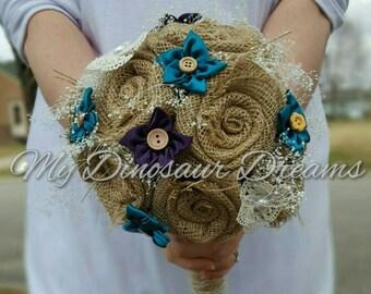 Burlap bouquet,  rustic wedding bouquet,  burlap flowers,  rustic bridesmaid flowers, fabric flowers,  custom bouquet,  handmade
