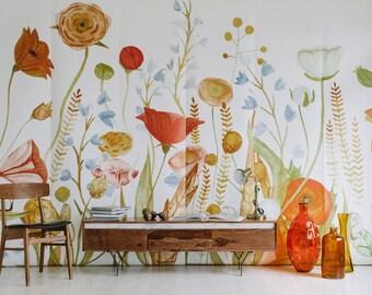 Wildflower Mural - Floral Scene Wallpaper, Garden Scene