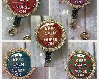 Rhinestone Keep calm and nurse on Nurse Nursing ID retractable badge reel