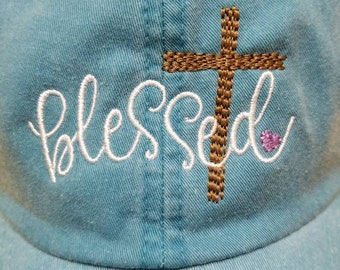Blessed with cross embroidered baseball hat