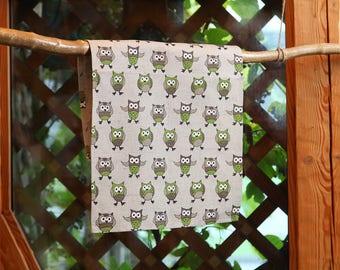Linen Cotton Tea Towel Green Owls, Hand Towel, Linen Kitchen Towel With Owls 17,7'' x 27,6'' (45x70cm)