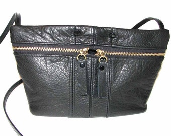 Black Italian Leather Double Zipper Harrison Cross Body Strap