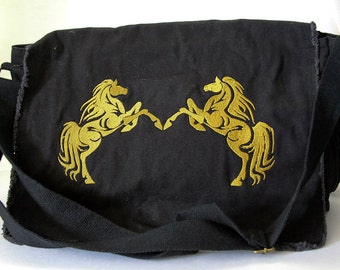Rearing embroidered tribal horses messenger bag