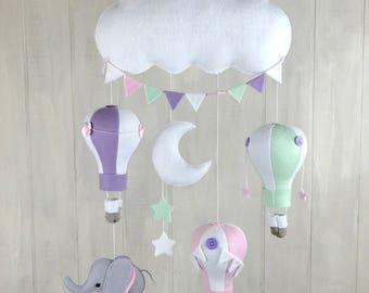 Baby mobile - elephant mobile - hot air balloon mobile - nursery mobile - travel nursery - elephant nursery - gender neutral