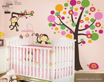 Miss Monkey Wall Decal, Large Tree with Monkey Stickers for Girls room (d287). Monkey wall decals.
