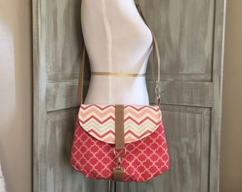 Chevron and Blush Crossbody Bag with an Adjustable Strap