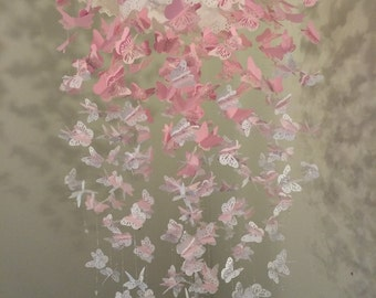 Paper Lace Chandelier Monarch Butterfly Mobile - Pinkini, Tutu Pink and White Mix - Made to order
